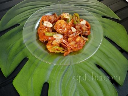 Креветки со сладким перцем и личи в кисло-сладком соусе