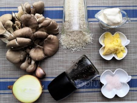 Рис с грибами и луком, свинина по-простому.
